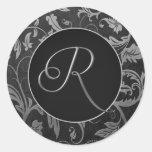 Silber des Monogramm-R und schwarzes Damast-Hochze Sticker