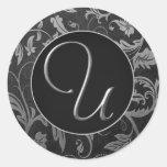 Silber des Monogramm-U und schwarzes Damast-Hochze Runde Aufkleber