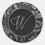 Silber des Monogramm-W und schwarzes Damast-Hochze Runde Aufkleber