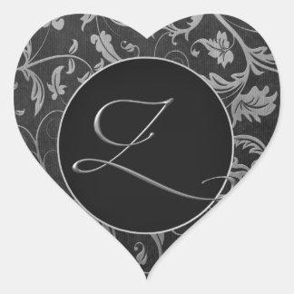 Silber des Monogramm-Z und schwarzes Herz-Aufkleber