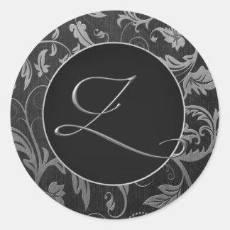Silber des Monogramm-Z und schwarzes Runder Aufkleber