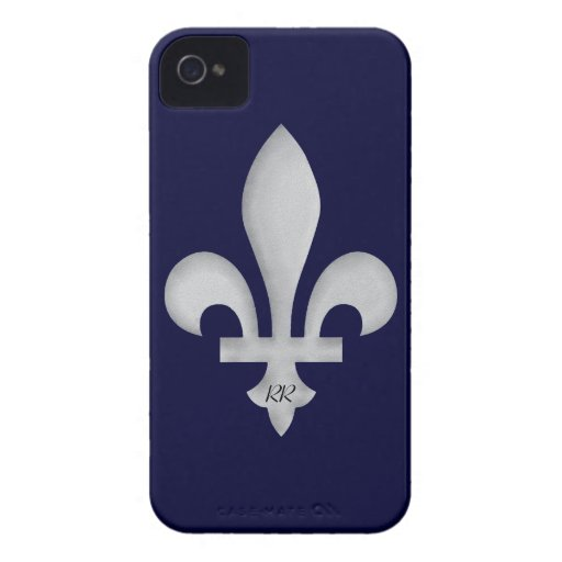 Silber Fleur-De-Lys auf BlackBerry-mutigem Kasten iPhone 4 Cover