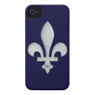 Silber Fleur-De-Lys auf BlackBerry-mutigem Kasten iPhone 4 Hülle