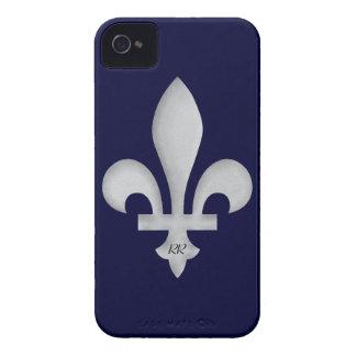 Silber Fleur-De-Lys auf iPhone 4 4S Case-Mate-Fall