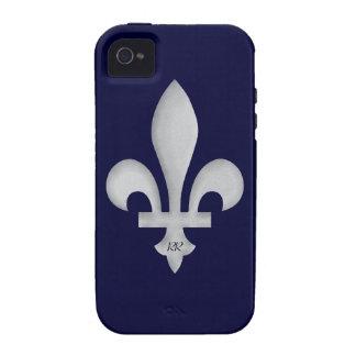 Silber Fleur-De-Lys auf iPhone 4 4S Vibe-Fall Vibe iPhone 4 Hüllen