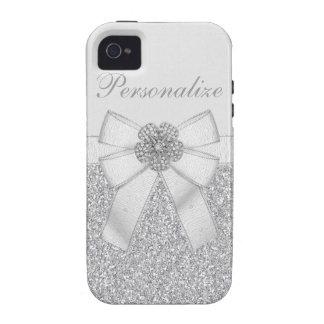 Silber Glitter und Diamant Blume personalisierbar Case-Mate iPhone 4 Hüllen