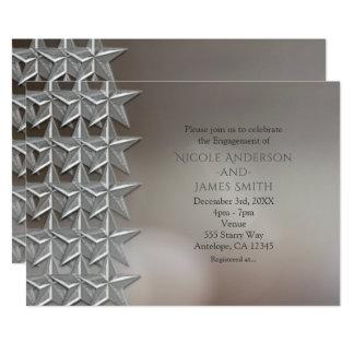 Silber hat Bokeh helle Verlobungs-Einladungen in Karte