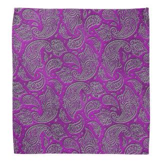 Silber prägeartiges Paisley-Muster auf lila Glas Kopftuch