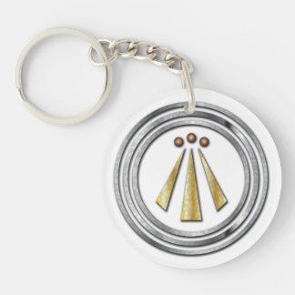 Silber u. Goldc$neo-druide-c$awen Doublesidd Schlüsselanhänger