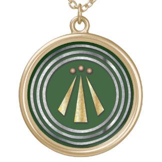 Silber u. Goldc$neo-druide Symbol von Awen Necklas Halskette Mit Rundem Anhänger