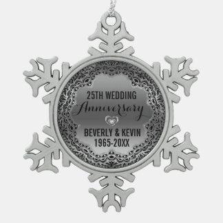 Silber-u. Schwarz-25. Hochzeitstag-Verzierung Schneeflocken Zinn-Ornament