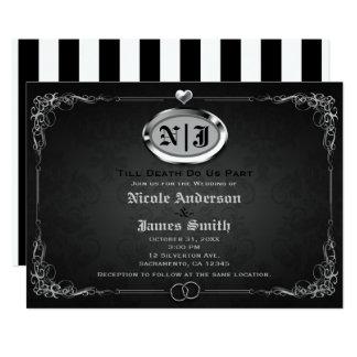 Silber u. Schwarz-Vintage gotische Karte