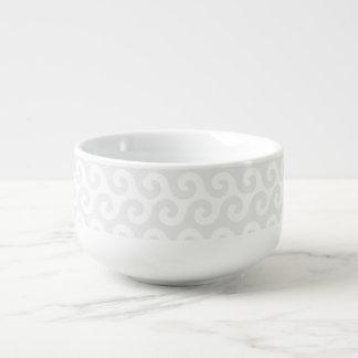 Silber-u. Weiß-Wellen - stilvoll u. Spaß-Muster Große Suppentasse