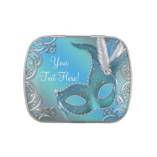 Silber und aquamarine blaue Maskerade-Party-Süßigk Jelly Belly Dosen