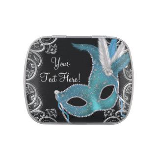Silber und aquamarine blaue Maskerade-Party-Süßigk Vorratsdose