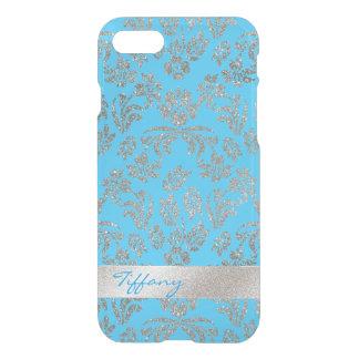 Silber und blauer Blumendamast klären iPhone 7 iPhone 7 Hülle