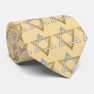 Silber-und des Goldzwei Ton-Davidsstern Bedruckte Krawatten