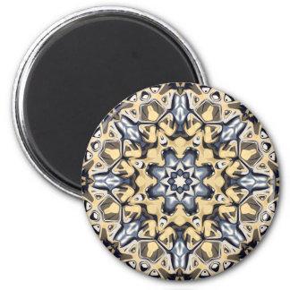 Silber und Gold abstrakt Runder Magnet 5,7 Cm