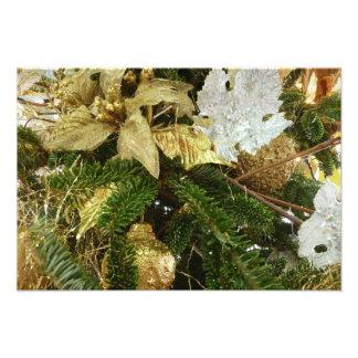 Silber-und Goldweihnachtsbaum-Feiertags-Foto-Druck Photographischer Druck