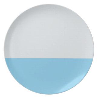 Silber-und Himmel-Blau-gestreifte Platte Teller