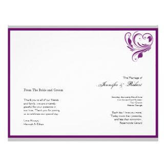 Silber und lila Blumenherz-Hochzeits-Programm Flyerdruck