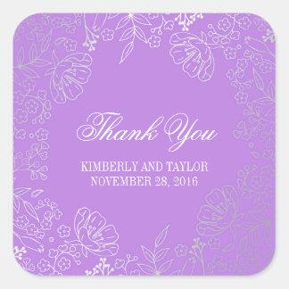 Silber und lila Vintage mit Blumenhochzeit danken Quadratischer Aufkleber