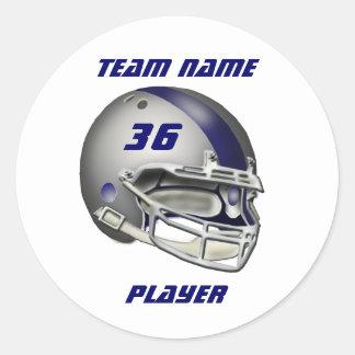 Silber-und Marine-Blau-Football-Helm Runder Aufkleber