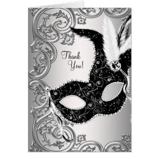 Silber-und Schwarz-Maskerade-Party danken Ihnen Karte