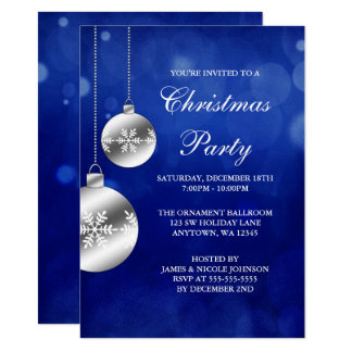 Silber verziert blaues Bokeh WeihnachtsParty Karte