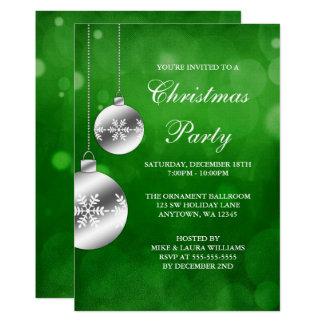 Silber verziert grünes Bokeh WeihnachtsParty Karte