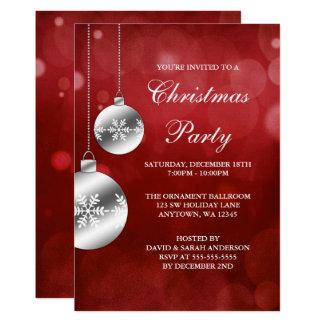 Silber verziert rotes Bokeh WeihnachtsParty Karte