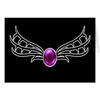 Silber Winged gotische Juwelphantasiekarte Karte