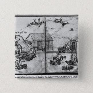 Silberbergwerk von La Croix-Zusatz-Bergwerken Quadratischer Button 5,1 Cm