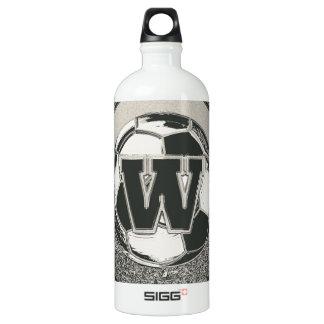Silbermedaille-Fußball-Monogramm-Buchstabe W Wasserflasche