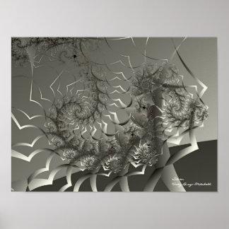 Silberne abstrakte Kunst Poster