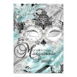 Silberne aquamarine Schein-Masken-Maskerade 12,7 X 17,8 Cm Einladungskarte