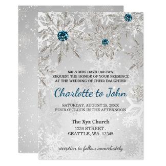 silberne Aquaschneeflockewinter-Hochzeitseinladung Karte