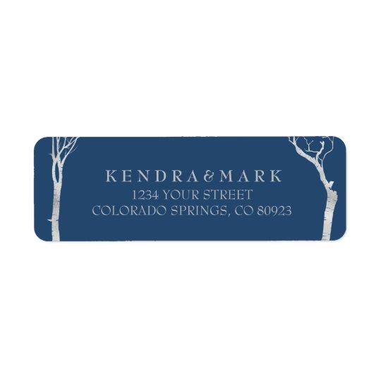 Silberne Birken-Baum-Adressen-Etiketten Rückversand-Adressaufkleber