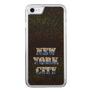 Silberne blaue Glitter New York City Carved iPhone 8/7 Hülle