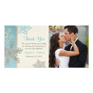Silberne blaue Schneeflocke-Winter-Hochzeit danken Fotokarten
