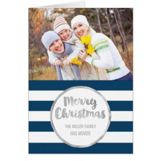 Silberne blaue Streifen-frohe Weihnacht-neue Karte