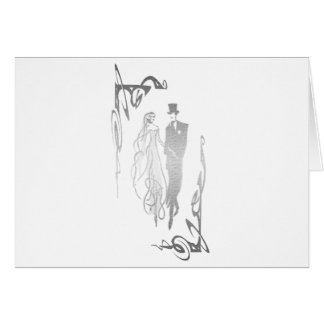 Silberne Braut-und Bräutigam-Kunst Grußkarte