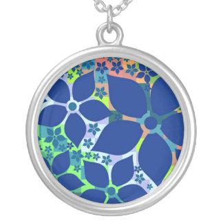 Silberne Charme-Halskette, Boop Blau-Blumen