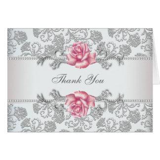 Silberne Damast-Rosa-Rose danken Ihnen Karte