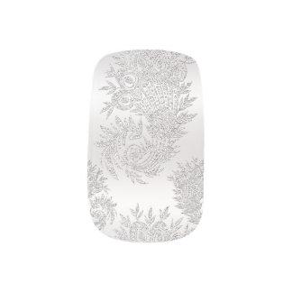 Silberne Damastminx-Nägel Minx Nagelkunst