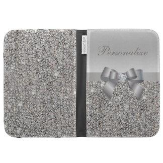 Silberne DruckPaillette Bogen u Diamant