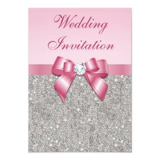 Silberne DruckPaillette und rosa Bogen-Hochzeit 12,7 X 17,8 Cm Einladungskarte