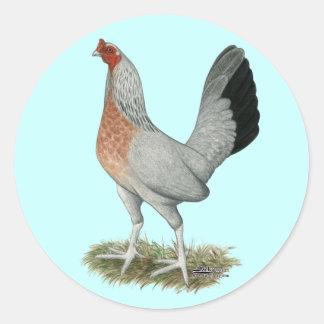 Silberne Duckwing Spiel-Henne Runder Aufkleber