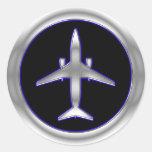Silberne Düsenflugzeug Runder Sticker