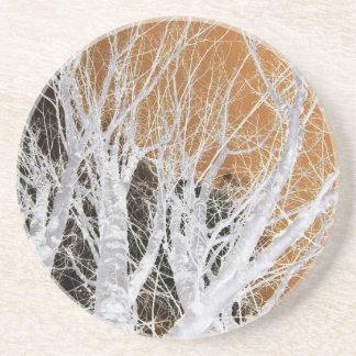 Silberne Erlen-Baum-Kunst Sandstein Untersetzer